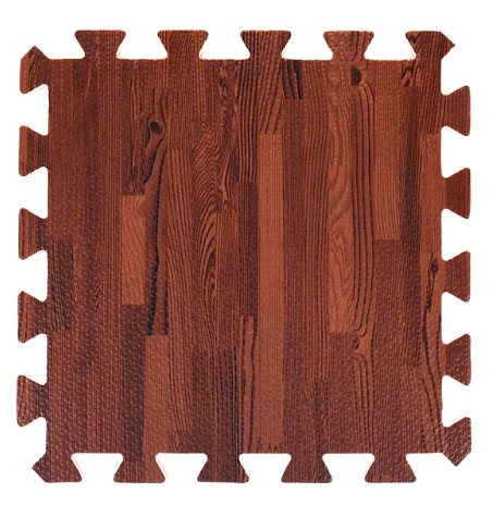 Rich colored wood grain foam interlocking floor tile