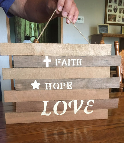 Faith Hope Love pallet sign