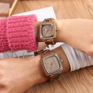 his and her wood watches-arms