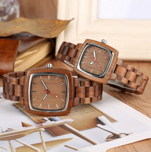 his and her wood watches-on side