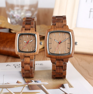 his and her wood watches-upright