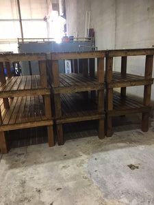 benches stacked in storage