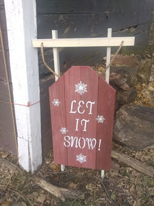 Let it snow pallet sign-near barn orig