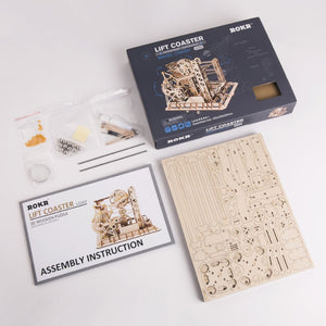 roller coaster model kit puzzle-package of items shown