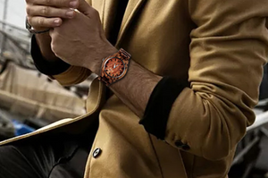 man wearing stylish wood quartz watch