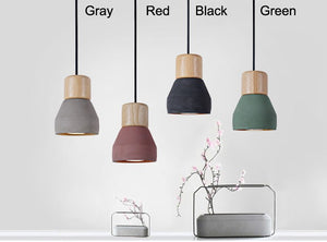 colored wood trimmed drop lights