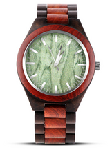Popular wood watch with green face