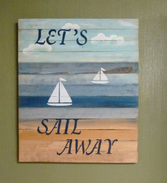 Sail Away pallet sign for hanging