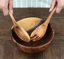 wood salad tongs with bowl
