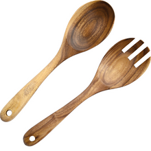wood salad tongs-white background