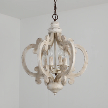 Victorian distressed wood chandelier-pretty white wood
