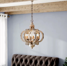 Victorian distressed wood chandelier-hanging in LR