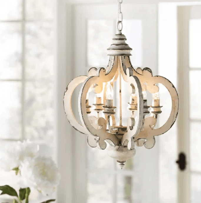 Victorian distressed wood chandelier-