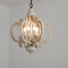 Victorian distressed wood chandelier-daylight