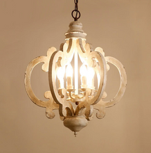 Victorian distressed wood chandelier-at night