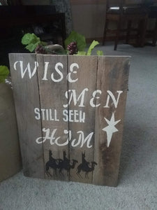 wise men pallet sign on floor