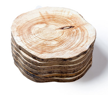 natural wood coasters stacked
