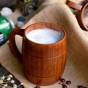 filled wooden beer mug