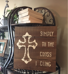 cross I cling on shelf showing size