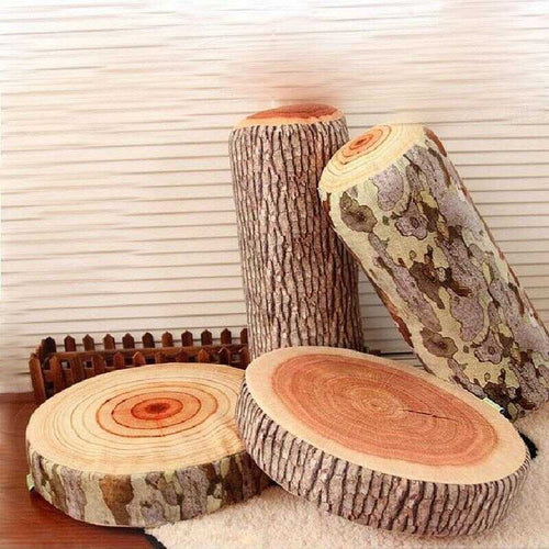 faux log throw pillows