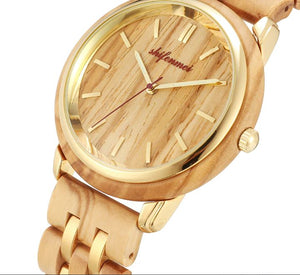 luxurious wood watch-close up