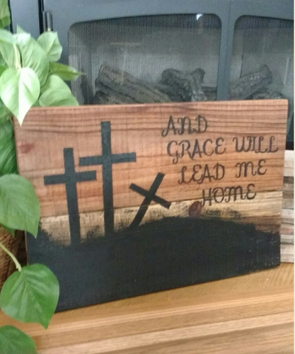 Grace leads home pallet sign