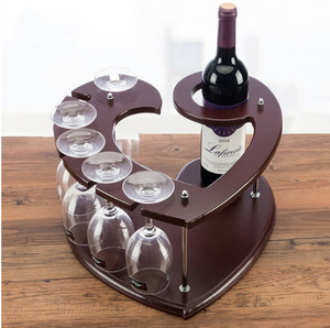 wood heart shaped wine rack