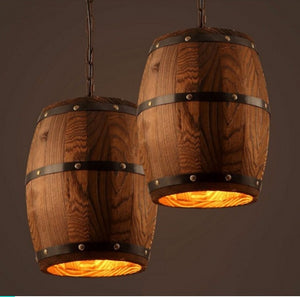 oak barrel lighting-hanging