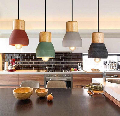kitchen view of hanging pendant lights