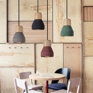 drop pendant lighting made from wood and cement