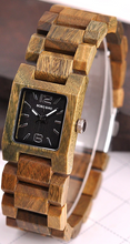 quartz wood band watch