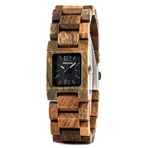 quartz wood banded watch black face
