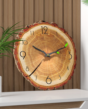 bark lined wood slice clock