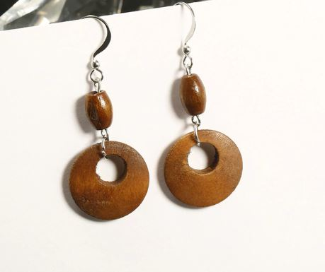 vintage wood earrings