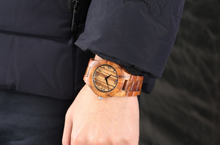 vintage wood watch-wearing on wrist