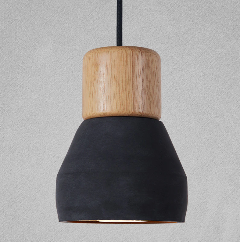 black wood and cement pendant light