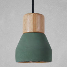 green wood and cement pendant light