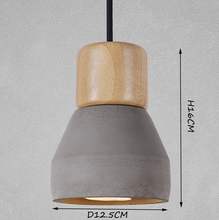 grey wood and cement pendant light