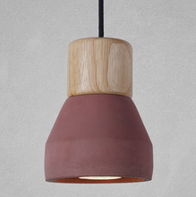 red wood and cement pendant light