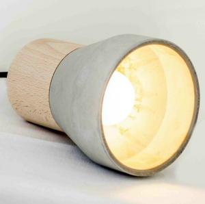 wood and cement pendant light interior