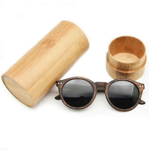 wood cateye sunglasses with wood case