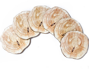 natural wood coasters spread out for viewing