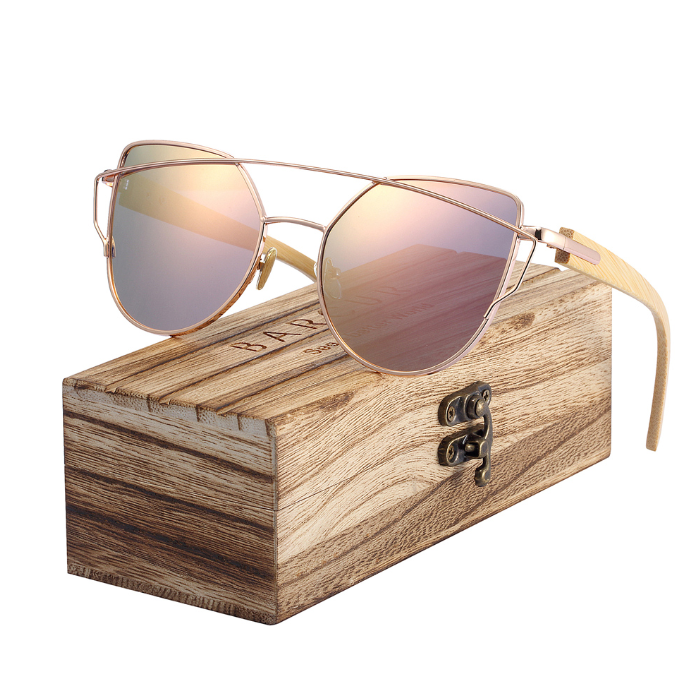 wood arm sunglasses with wood box