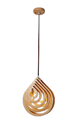 wood pendant light with tip hanging up