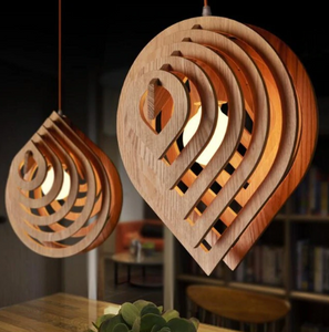 wood sculpted pendant light