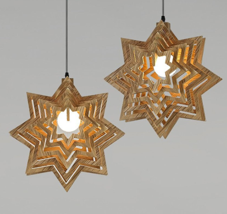 wood star pendant lights