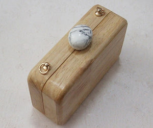 top view of wood clutch