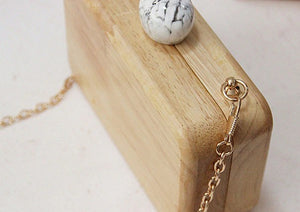 wood clutch with top clasp