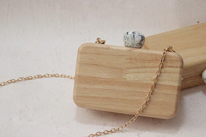 wooden clutch with chain