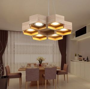 honeycomb chandelier over dining table